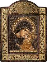 Икона с чешским бисером в рамке - киоте Св. Анна с младенцем Марией