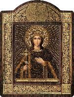 Икона с чешским бисером в рамке - киоте Св. Вмц. Ирина Македонская