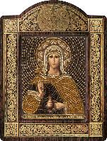 Икона с чешским бисером в рамке - киоте Св. Мц. Фотиния Самаритянка (Светлана)
