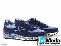 Стильные мужские кроссовки Violeta Laki из текстиля с оригинальными рисунком на рельефной подошве синие