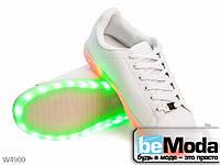 Оригинальные кроссовки женские светодиодные White/White из качественной экокожи белые