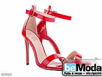 Стильные женские босоножки L&M Red из лакированной экокожи на высоком каблуке красные