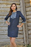 Современное платье-вышиванка льняное прямого кроя с рукавом 3/4 Модель П07/1-295