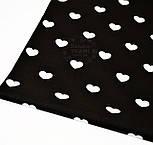 Ткань хлопковая с белыми сердечками на чёрном фоне (№ 711)., фото 2