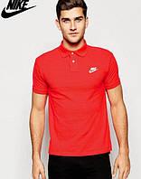 Футболка Поло стильная красная с принтом Nike Найк тенниска