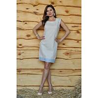 Платье-футляр льняное с вышивкой облегающий силуэт Модель П01/21-241