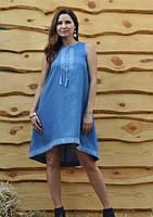 Расклешенное льняное платье с вышивкой и американской проймой  Модель П03-273