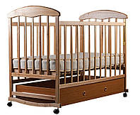 Кроватка детская Наталка с ящиком, ольха светлая