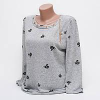 Стильная женская кофта-блуза с подвеской рисунок роза p.42-48 цвет серый T2-1