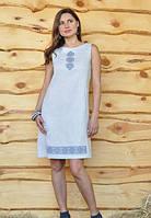 Платье-вышиванка льняное прямого кроя с вышивкой. Модель П27-2113