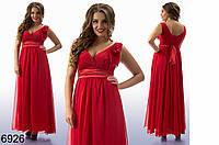 Вечернее платье в пол батального размера, шифоновая юбка (разные цвета)