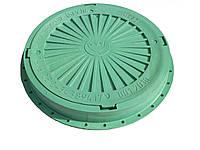 Люк канализационный круглый полимерный зеленый