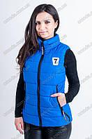 Женская спортивная безрукавка на холлофайбере Ника синего цвета