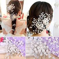 Гребень для волос Аврора белый и красный свадебные украшения