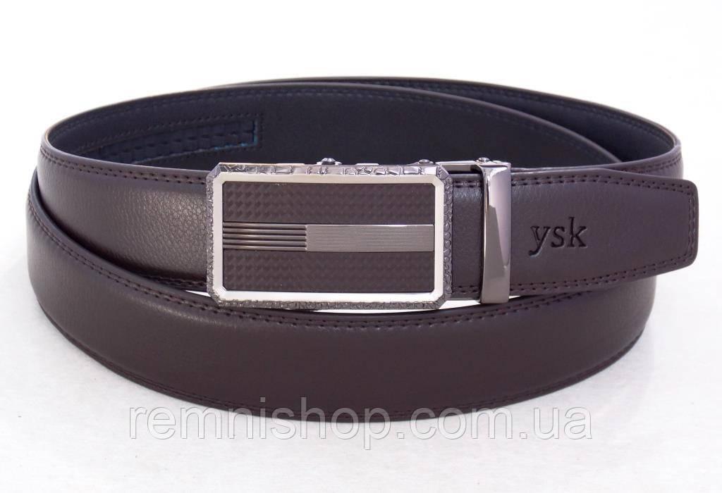 Коричневый ремень мужской кожаный YSK автоматическая пряжка