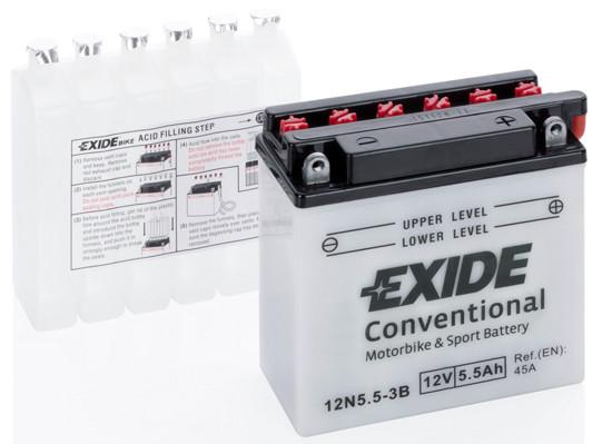 Аккумулятор мото EXIDE 12V 5.5AH 45A 12N5.5-3B [121X61X131]