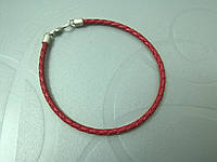Браслет кожаный плетеный (3.0 мм, красный)