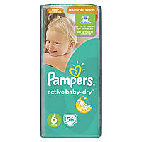 Подгузники Pampers Active Baby-Dry Размер 6 (Extra large) 15+ кг, 56 шт