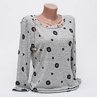 Стильная женская кофта-блуза с подвеской рисунок цветок p.42-48 цвет серый T2-2