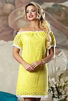 Женское летнее платье с открытыми плечами из натуральной ткани + большой размер