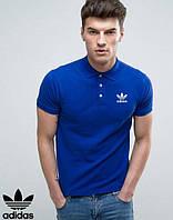 Поло из хлопка с принтом  Adidas Адидас синяя футболка