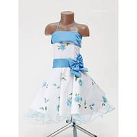 Платье детское праздничное Розы на 6-7 лет  (цвета: голубой и розовый)
