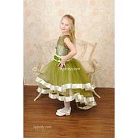 Платье нарядное Валентина шлейф 5-7 лет Dina-006