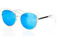 Женские солнцезащитные очки бирюзовое зеркало с серебряной оправой