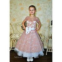 Платье детское нарядное Бархат бежевое 6-9 лет