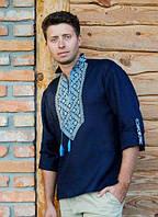 Современная мужская вышиванка льняная с длинным рукавом пат+манжет Модель М18/1-295