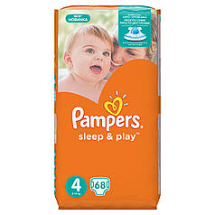 Подгузники Pampers Sleep & Play Размер 4 (Maxi) 8-14 кг, 68 шт