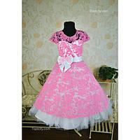 Платье нарядное Бархат розовое 6-9 лет Dina-041