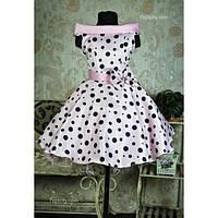 Платье нарядное Ретро розовое в горох 6-9 лет Dina-040