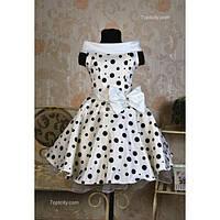 Платье детское нарядное Ретро в горох 6-9 лет