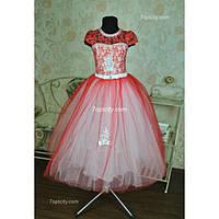 Платье нарядное Мария красное 6-8 лет Dina-046
