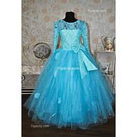 Платье нарядное Алена голубое 8-11 лет Dina-054