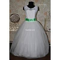 Платье детское нарядное Лента белое 6-7 лет