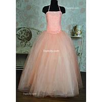 Платье нарядное Корсет персиковое 10-16 лет Dina-062