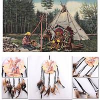Оберег ловец снов   с  картинкой ( индейцы) мод.1