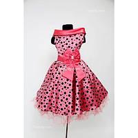 Платье нарядное Ретро коралловое в горох 6-9 лет Dina-040qa