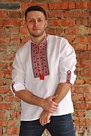 Вышиванка мужская льняная с длинным рукавом пат+манжет  Модель М04/2-212