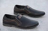 Туфли мужские летние черные перфорация удобные искусственная кожа 2017