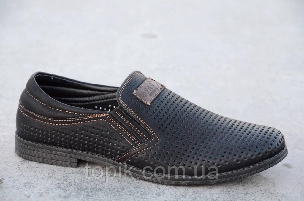 Туфли мужские летние черные перфорация удобные искусственная кожа (Код: 550а)