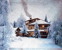 Гобелен 619 Дом в зимнем лесу 65х60