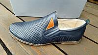 Мужские кожаные летние туфли KF blue на резинках