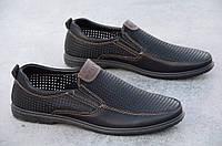 Туфли, мокасины мужские летние черные искусственная кожа удобные 2017