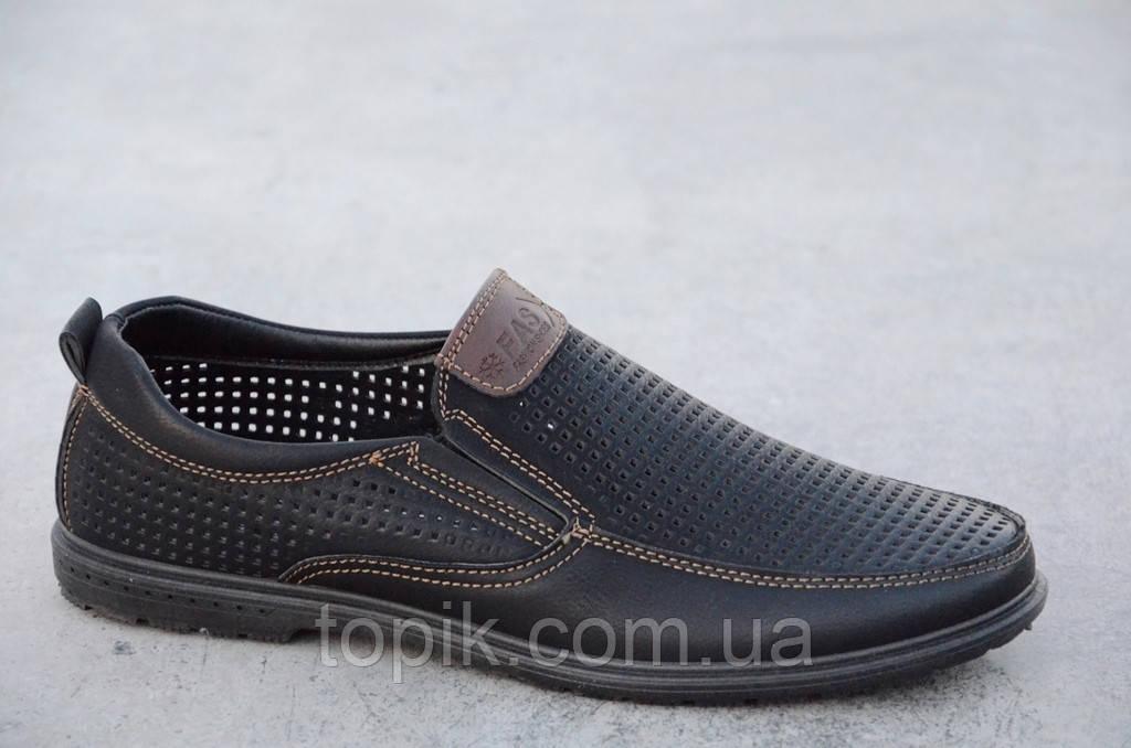 Туфли, мокасины мужские летние черные искусственная кожа удобные (Код: 551а)