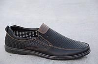 Туфли, мокасины мужские летние черные искусственная кожа удобные (Код: 551а), фото 1