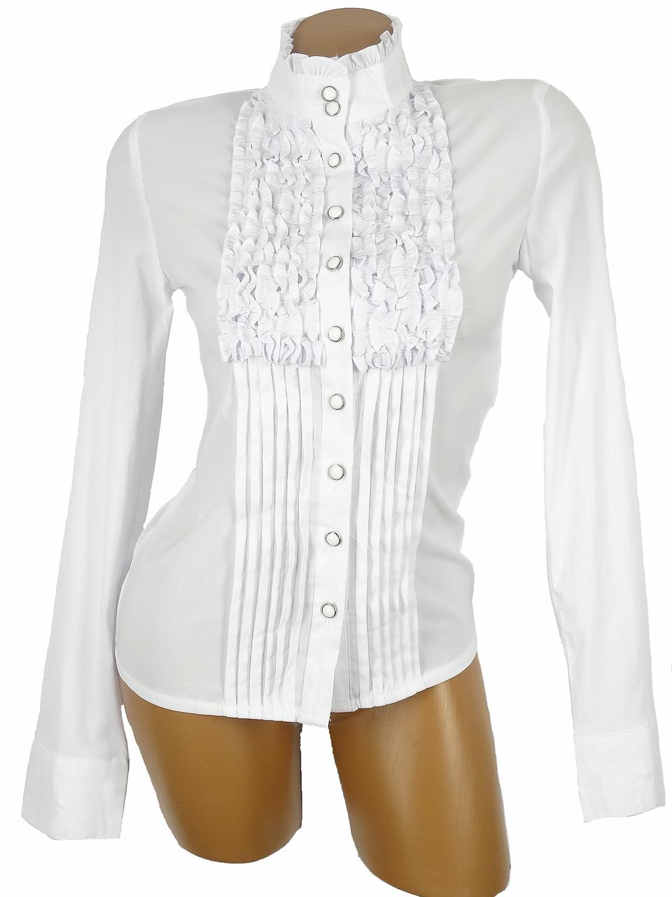 Женская рубашка с рюшами (размеры 36 - 40)