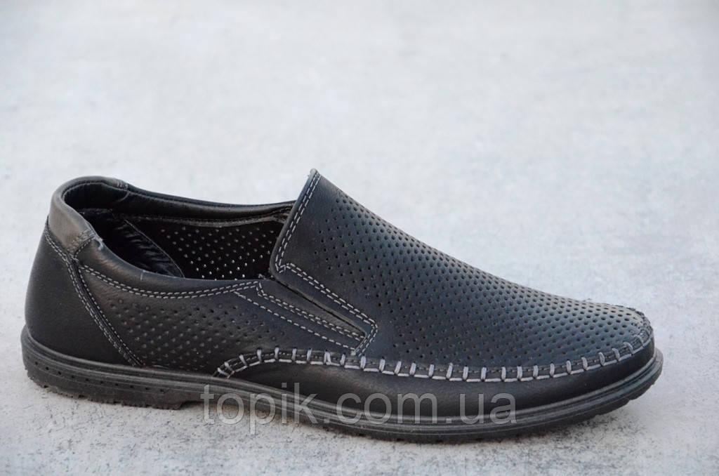 Туфли, мокасины мужские летние черные искусственная кожа стильные (Код: 552а)